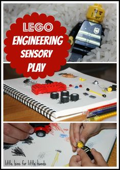 Engineering Lego Sensory Bin with Drawing  Building Activity