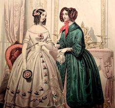LE FOLLET 1845 Hand-Colored Fashion Plate #1285 DANCE DRESSES Original Print | eBay