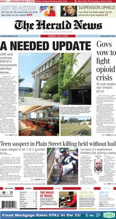 The front page of The Herald News for Thursday, July 14, 2016.