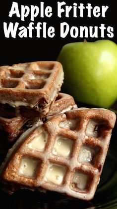 Apple Fritter Waffle Donuts the perfect Fall brunch treat! Waffles made with apple fritter batter then deep fried and iced like donuts. Waffle Donut Recipe, Waffle Maker Recipes, Donut Recipes, Baking Recipes, Dessert Recipes, Starbucks Recipes, Apple Fritter Doughnut Recipe, Deep Fried Donut Recipe, Waffle Waffle