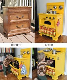 A Display Shelf Erica at Spoonful of Imagination found this old dresser in the junk tossed away by her neighbor's and after giving it a pretty makeover she turned the dresser into a display shelf. A Play Kitchen Cyrille at Bubblestitch Quilts upcycled a small dresser into a fun play kitchen for her two year #KidsFurniture
