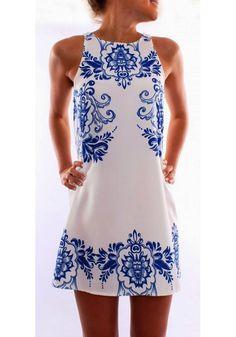 White Flowers Print Round Neck Sleeveless Chiffon Dress