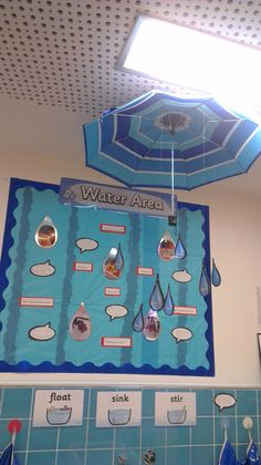 Water play area display DONE Teaching Displays, Class Displays, School Displays, Classroom Displays, Year 1 Classroom, Outdoor Classroom, Preschool Classroom, Sand And Water, Water Play