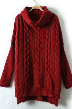 Vintage Red High Neck Texture Sweater