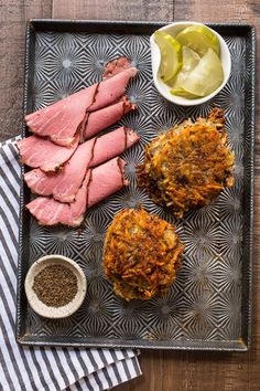 Who needs bread when you have latkes topped with pastrami? Add Pastrami on Rye Latkes to your holiday meal! Hanukkah Recipes, Hanukkah Food, Holiday Recipes, Mustard Pickles, Shredded Potatoes, Caraway Seeds, Pickle Relish, Red Kitchen, Rye