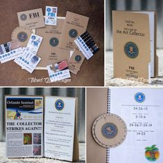 """""""FBI (Funtastic Birthday Investigation) Mystery Party in a box. Includes invitations, FBI ID badges, case file with suspect information, decoder ring and…"""""""