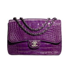 44b8e0ab824 Classic Flap Jumbo Single Purple Alligator Skin Leather Shoulder Bag