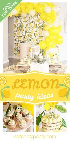 Don't miss this sweet lemon-themed 1st birthday party! The cupcakes are so pretty! See more party ideas and share yours at CatchMyParty.com #catchmyparty #partyideas #lemons #lemonade #lemonparty #girl1stbirthdayparty Boys 1st Birthday Party Ideas, Birthday Party Decorations, Girl Birthday, Party Drinks, Party Snacks, Lemon Party, 1st Birthdays, Cake Smash, Lemonade