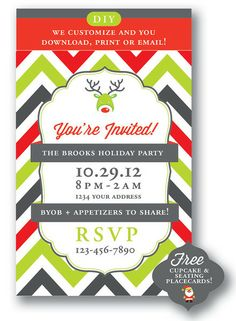 Chevron Christmas Party Invitation (DIY!)  Just $14.00 too (all customized & pretty!) #christmas #holidays #partyinvite #reindeer #shopify