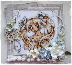 """Shabby Card by LLC DT Member Karita Vainio using papers from Maja Design's """"Vintage Summer Basics"""" collection and a Make It Crafty Image, coloured with Copics. Copic Markers Tutorial, Coloring Tutorial, Love Craft, Pretty Cards, Digi Stamps, Free Coloring Pages, Copics, Big Eyes, Altered Art"""
