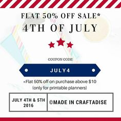 Flat 50% off Sale  5⃣0⃣% off on purchase above $10. Applicable only for digitals. That is printable planners.   Offer valid for only two days. 4th and 5th of July. Hurry. 😊  #Happy4thofJuly