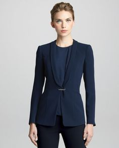 Techno-Cady+Shawl-Collar+Jacket+by+Giorgio+Armani+at+Bergdorf+Goodman.      Techno cady.     Shawl collar; bar closure.     Long sleeves.     Slim fit.     Triacetate/polyester.     Made in Italy.
