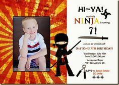 CUSTOM PHOTO CARDS--NINJA BIRTHDAY