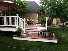 Wood decking, white under, white railing Outdoor Spaces, Outdoor Living, Outdoor Decor, Outdoor Stuff, Wood Deck Plans, Tiered Deck, Deck Colors, Patio Canopy, Backyard Landscaping