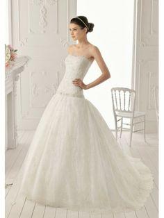 Robe de bal sans bretelles de mariage robe en dentelle