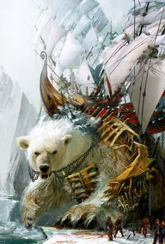 Guild Wars 2: Giant Polar Bear with a boat on its back - concept art