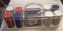 Vintage CARD GAME Set - Lucite Carrier - Cards and Chips - Complete!