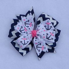 Nautical Hair Bow Navy and Pink Nautical Hair by LizzyBugsBowtique