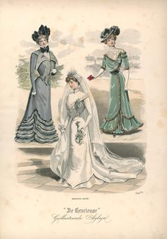 "Published in Dutch magazine ""De Gracieuse"" on October 2 1890s Fashion, Edwardian Fashion, European Fashion, Victorian Gown, Edwardian Era, Retro Fashion, Vintage Fashion, Women's Fashion, Fashion Illustration Vintage"