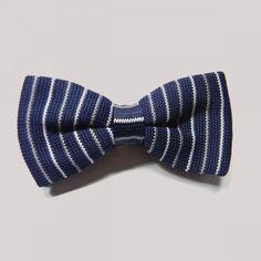 Papillon in maglia bianco/blu/grigio a righe