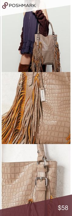 "New Sold by Free People Tote (Urban Originals) Soft vegan leather tote bag with fun fringe detailing. Top snap closure. Inside features on zip pocket and two slip pockets.  Vegan Leather By Urban Originals Sold at Free People!  Product measurements Dimensions in Inches: 13.25"" = 33.65 cm  