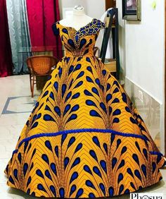 Would you rock this to your prom, your wedding, a costume party, dinner, awards night or where? Outfit by African Dresses For Kids, African Prom Dresses, Latest African Fashion Dresses, African Print Fashion, African Bridal Dress, Ball Gown Dresses, Women's Dresses, Dashiki Prom Dress, African Print Dress Designs