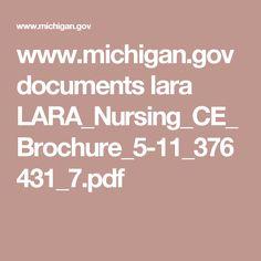 www.michigan.gov documents lara LARA_Nursing_CE_Brochure_5-11_376431_7.pdf