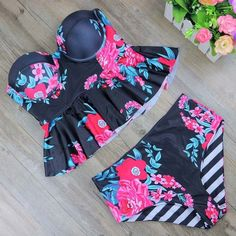 New Print Bikinis Women Swimsuit High Waist Bathing Suit Plus Size Swimwear Push Up Bikini Set Vintage Retro Beach Wear XL