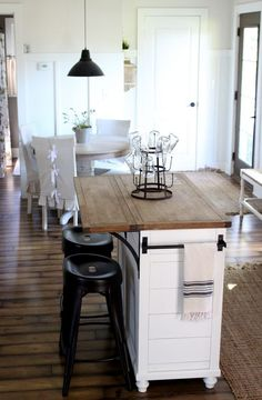 stock island makeover, kitchen in neutrals with white, wood and black accents via proverbs31girl.com Kitchen Island Towel Bar, Kitchen Island With Drop Leaf, Kitchen Island In Small Space, Kitchen Island Countertop Ideas, Kitchen Island For Small Kitchen, Islands For Small Kitchens, Ideas For Small Kitchens, Rolling Kitchen Island, Mobile Kitchen Island