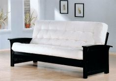 """Coaster Dark Cappuccino Futon Frame with Slat Arms by Coaster Home Furnishings. $448.91. Futon Frame: 85""""L x 54""""D x 32""""H. Futon Pad Not Included. Some Assembly Required. Cappuccino Finish. Made From Wood Futon. Coaster, Futon, Convertible, Sofa, Dark, Cappuccino, Mission, Slat, Arms, CTR-5817, 5817"""
