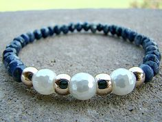 Blue Beaded Bracelet, Gemstone Bracelet, Pearl, Stacking Bracelet, Bead Bracelet, Gold, Stretch Bracelet, Fall Jewelry, Gift, For Her by BeJeweledByCandi
