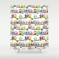 Colorful Owls On Branches Shower Curtain!