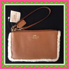 "Authentic Coach Leather Clutch % AUTHENTIC✨ Beautiful soft shearling leather clutch/wristlet from Coach! Very spacious! Length 7 1/2"" Height 4 3/4"" Yellow gold tone hardware. Card slots inside. New with tag. NO TRADE  Coach Bags Clutches & Wristlets"
