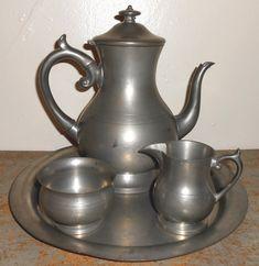 Vintage Tea Set Coffee Set Woodbury Pewterers Reed by TheBackShak, $225.00