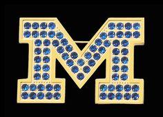 Beliza Design | University of Michigan Pins - P51Z1964 - Brushed Gold IP University of Michigan Block 'M' Logo Pin with Blue Cubic Zirconia Stones (Large)