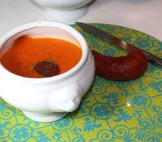 Soupe tomates, poivrons, chorizo