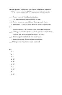 "Reading Check Quiz; ""Harrison Bergeron"", FREE document download for teachers"