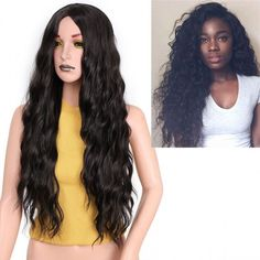 long black small curve curly wigs for women middle parting for sale Cheap Lace Front Wigs, Cheap Wigs, Synthetic Lace Front Wigs, Synthetic Wigs, Blonde Wig, Blonde Ombre, Indian Hairstyles, Straight Hairstyles, Black Dark