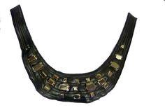 Produits > Modifier : col plastron à coudre en cuir noir, pierre carré de couleurcanon de fusil • Syage Mercerie
