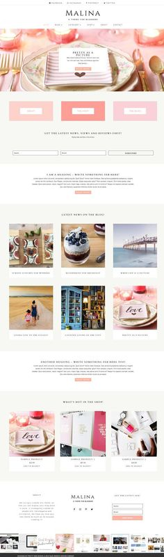 Malina - Divi Child Theme by Pretty Web Design on creativemarket, Wordpress Themes, Feminine, Food ,Graphic Design Resources,Website,