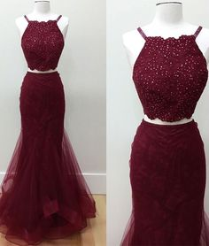 Burgundy two pieces lace tulle long prom dress