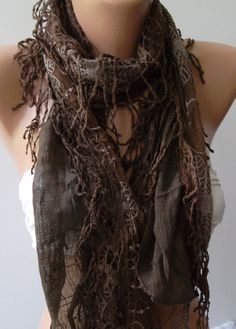 Chocolate  Elegance Shawl / Scarf with Lace Edge by womann on Etsy,
