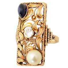 Arts and Crafts Pearl Sapphire Diamond Gold Ring