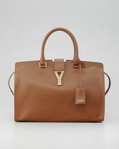 Saint Laurent Classic Cabas Y-Ligne Leather Carryall Bag, Brown - Neiman Marcus