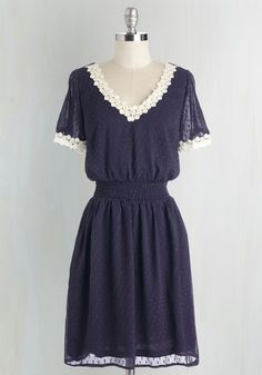 Belle Me About It Dress - Mid-length, Woven, Blue, White, Solid, Crochet, Casual, A-line, Short Sleeves, V Neck