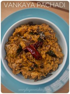 Vankaya pachadi - brinjal chutney - traditional Andhra style brinjal chutney made with eggplants and Indian spices. Brinjal Recipes Indian, Indian Chutney Recipes, Indian Food Recipes, Vegetarian Recipes, Cooking Recipes, Snack Recipes, Peanut Chutney, Ginger Chutney, Baked Eggplant