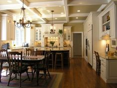 Good colors - dark wood floor, white cabinets (like the cabinet style) and light brown family walls - MacGibbon Kitchen 1 - traditional - kitchen - dc metro - Cameo Kitchens, Inc.