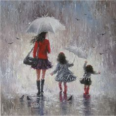 Rainy Day Walk With Mom- Original Oil Painting