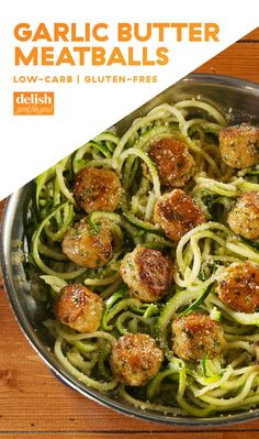 Butter Meatballs Garlic Butter Meatballs Go Low-CarbDelish / I would substitute with ground turkey and not wipe out the skillet .Garlic Butter Meatballs Go Low-CarbDelish / I would substitute with ground turkey and not wipe out the skillet . Zoodle Recipes, Spiralizer Recipes, Paleo Recipes, Low Carb Recipes, Cooking Recipes, Recipes Dinner, Zucchini Noodle Recipes, Paleo Dinner, Low Carb Dinner Ideas