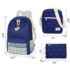 Veenajo Casual Lightweight Cute Dot Canvas Laptop Bag Shoulder Bag School Backpack for Teen(Black)